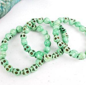 3/$20 Just Like Candy Green Stone Skull Bracelet
